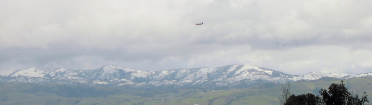 Snow on the hills east of San Jose