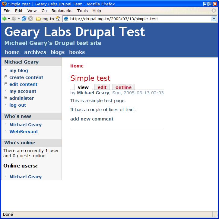 Drupal page display