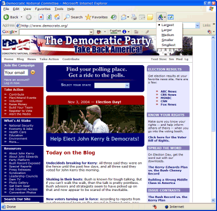 Democratic Party in Internet Explorer