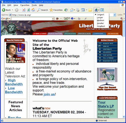 Libertarian Party in Internet Explorer