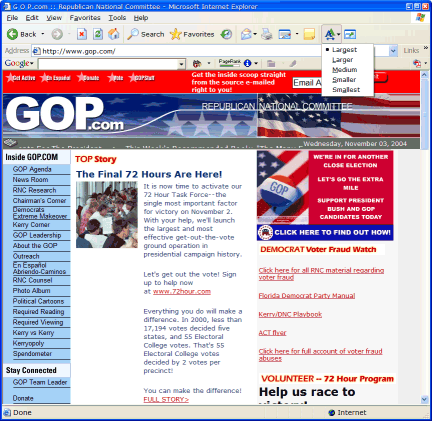 Republican Party in Internet Explorer