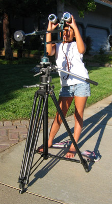 Rachel viewing sunspots with my Scobleized Bogen tripod